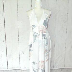 NWT FFLMYUHULIU  Strap Floral Print Dress L Maxi